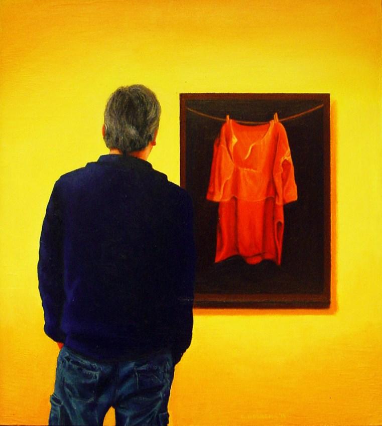 """Self Portrait With Rood Baaien Hemd- Me Enjoying Painting By Jopie Huisman"" original fine art by Gerard Boersma"