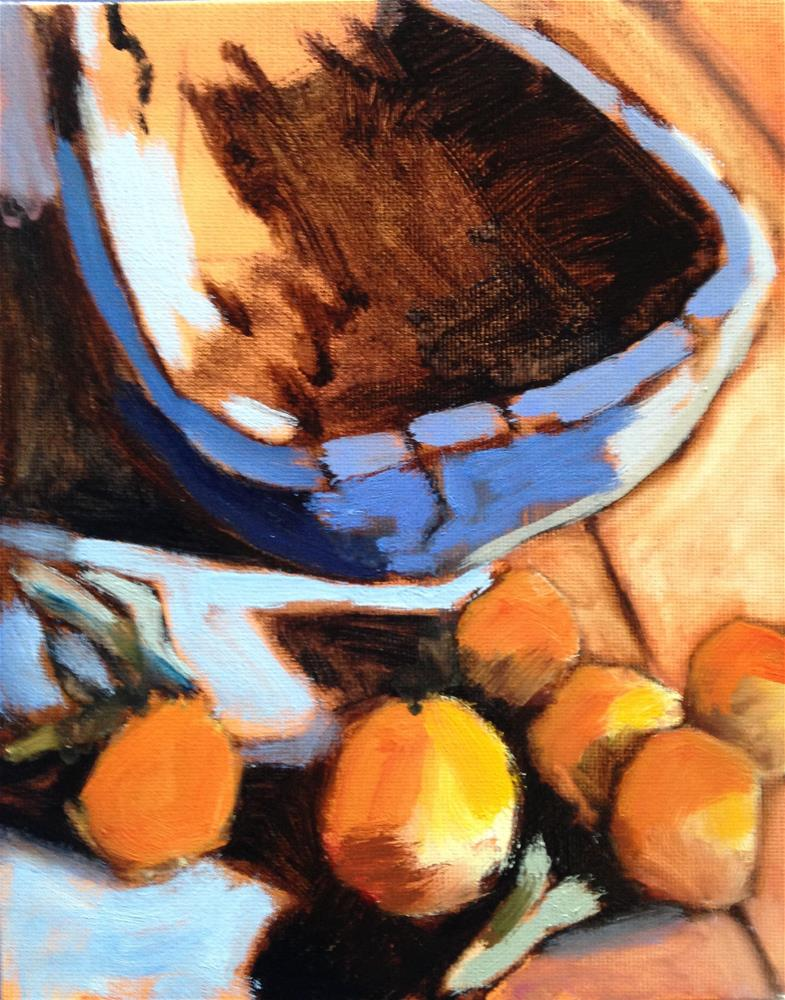 """Wood Wood Oranges"" original fine art by Pamela Hoffmeister"