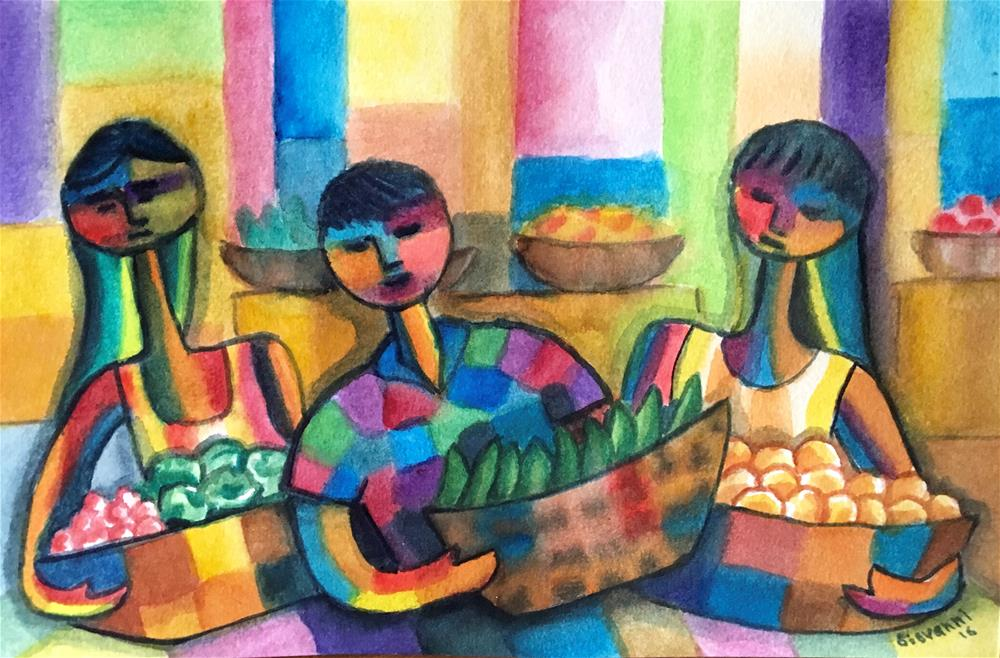 """Green market Vendors"" original fine art by Giovanni Antunez"