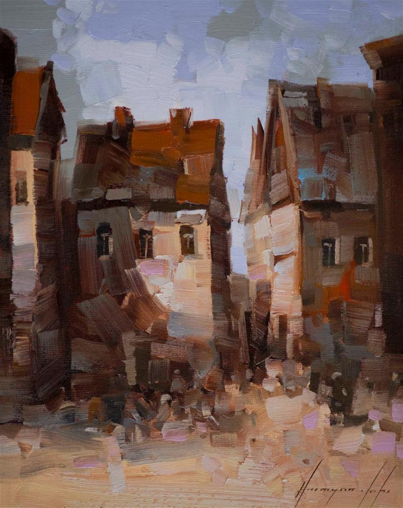 """Old Town Original Cityscape oil Painting on Canvas One of a kind"" original fine art by V Y"