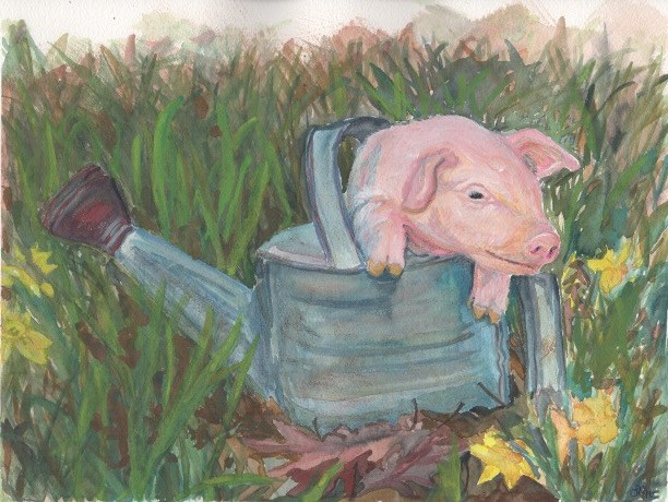 """This Little Piggy"" original fine art by Laura Denning"