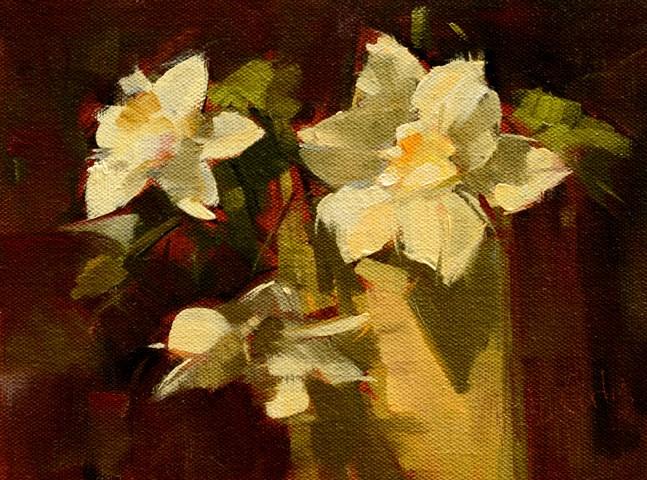 """Clematis Blossoms"" original fine art by Rita Curtis"
