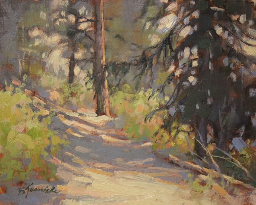 """Mountainside Hike Through the Shadows"" original fine art by Barbara Jaenicke"