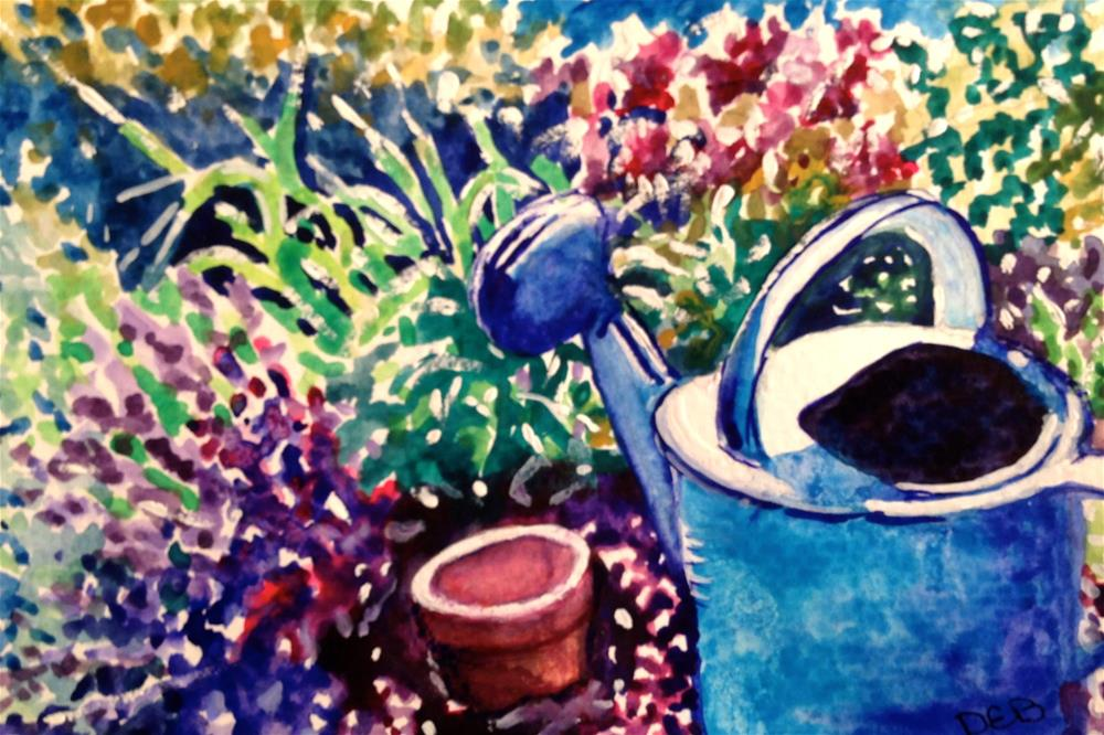"""Watercolor Watering Can"" original fine art by Debbie Yacenda"