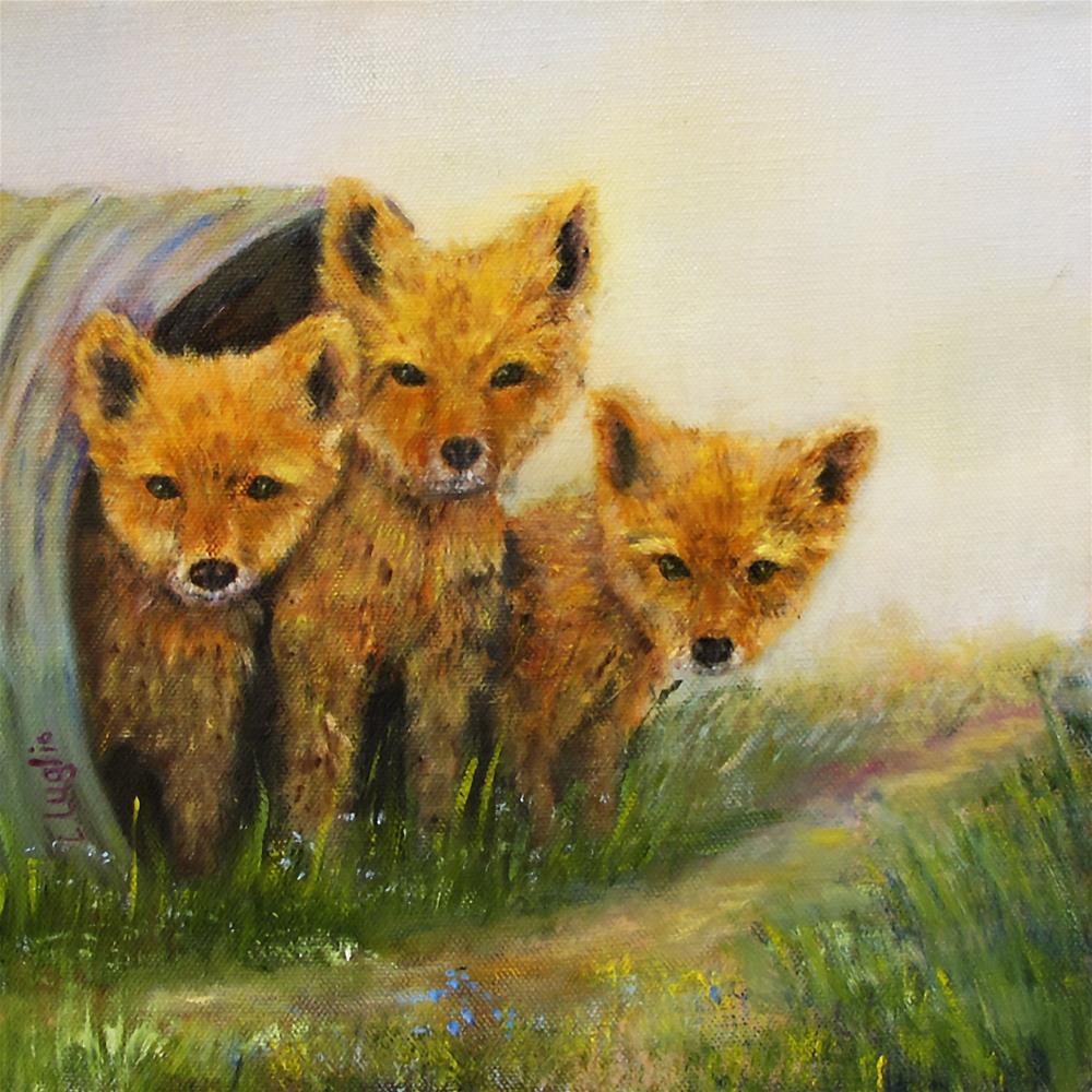 """""""Little Foxes"""" original fine art by Loretta Luglio"""
