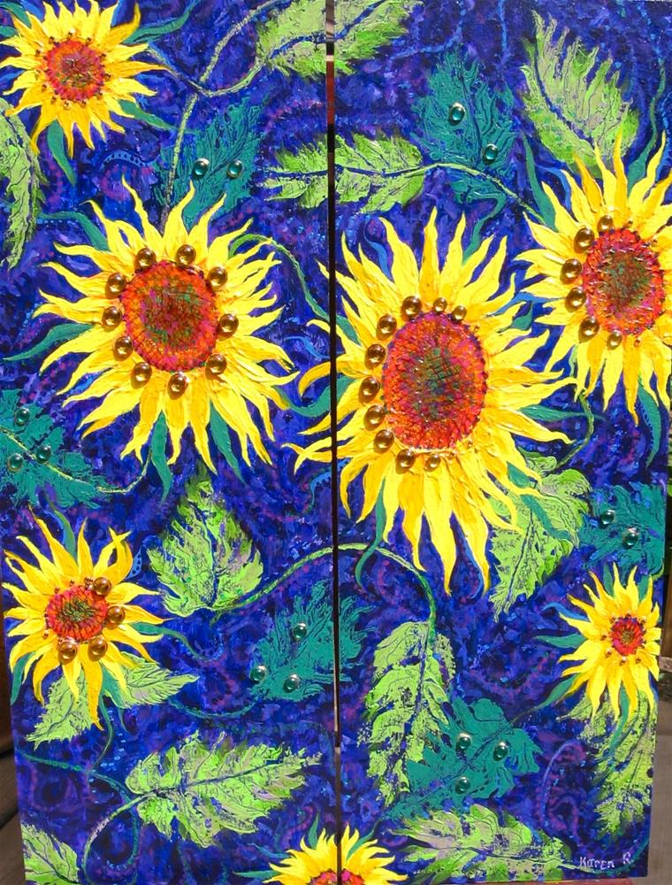 """Sunflower Twins"" original fine art by Karen Roncari"
