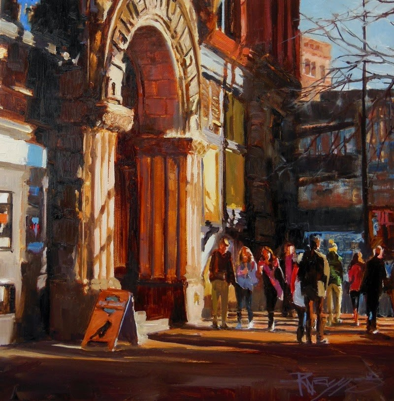 """The Underground Tourists  Seattle cityscape by Robin Weiss"" original fine art by Robin Weiss"