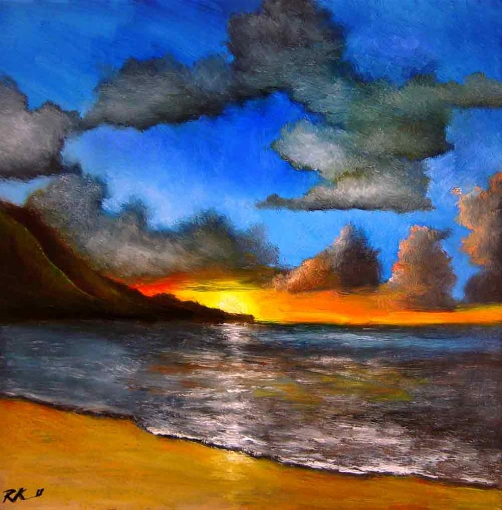 """Sunset Beach"" original fine art by Bob Kimball"