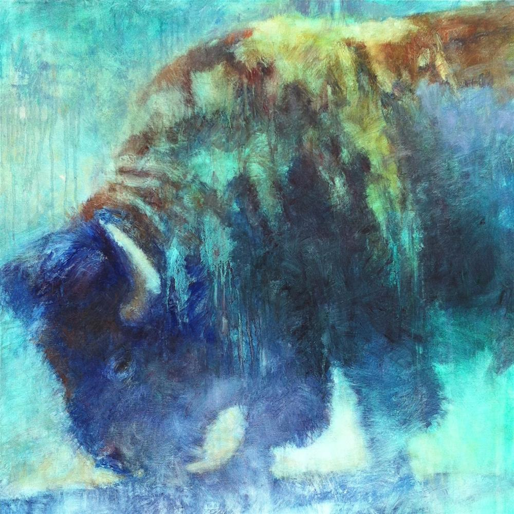 """Blue Bison and Upcoming Events"" original fine art by V.... Vaughan"