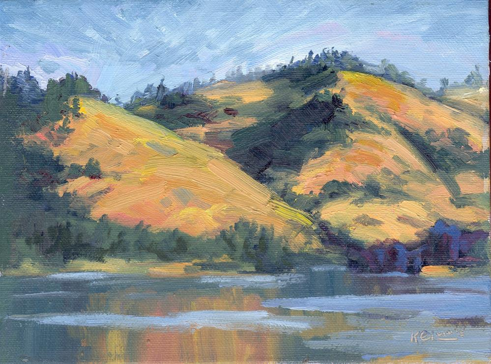 """HILLS ACROSS THE COLUMBIA"" original fine art by Karen E Lewis"