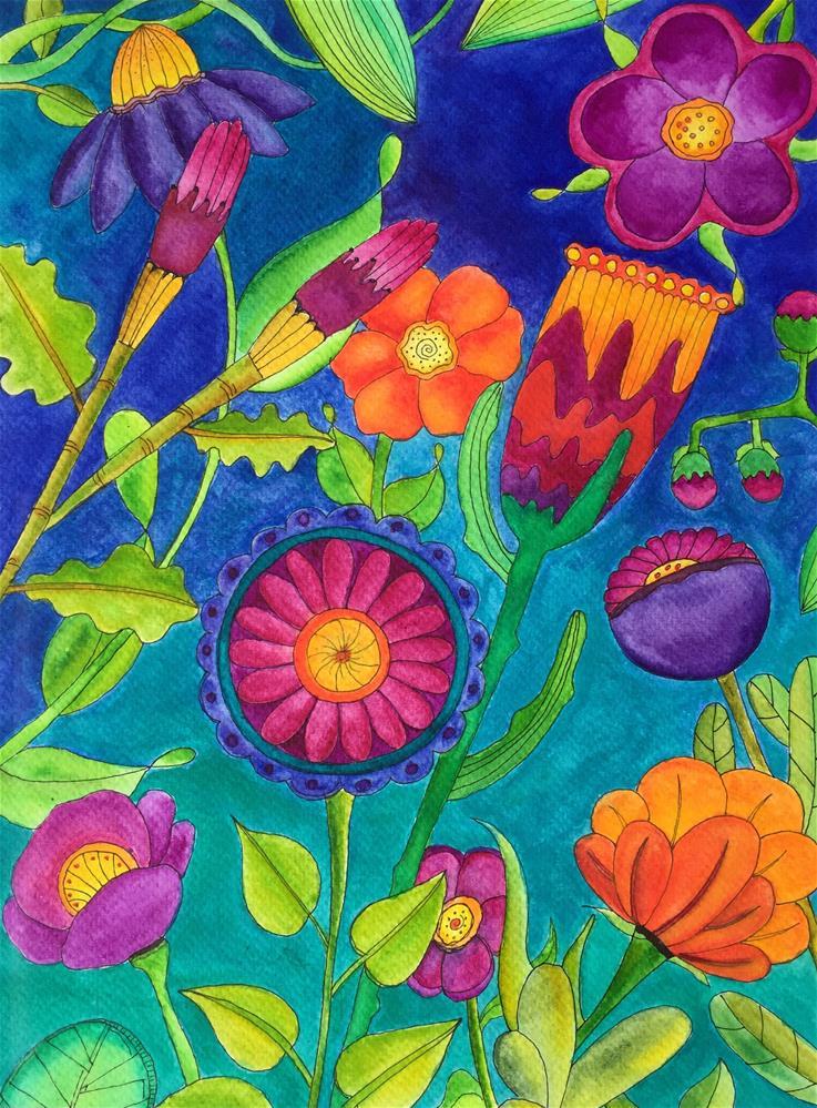 """Flower Party"" original fine art by Susan Bertocci"