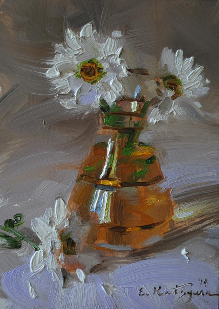 """Daisies in a Vase"" original fine art by Elena Katsyura"