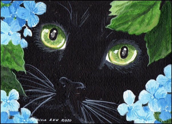"""Cat in the Blue Hydrangea"" original fine art by Patricia Ann Rizzo"