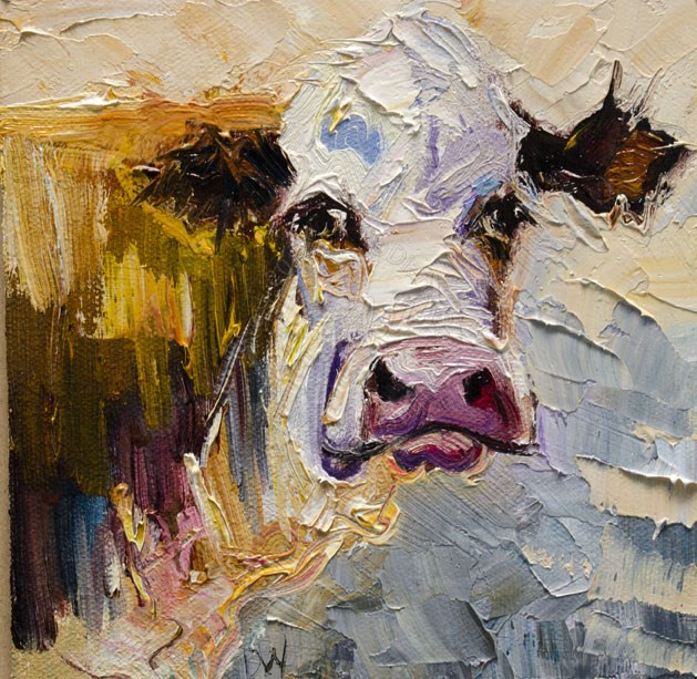"""Grumpy Cow"" original fine art by Diane Whitehead"