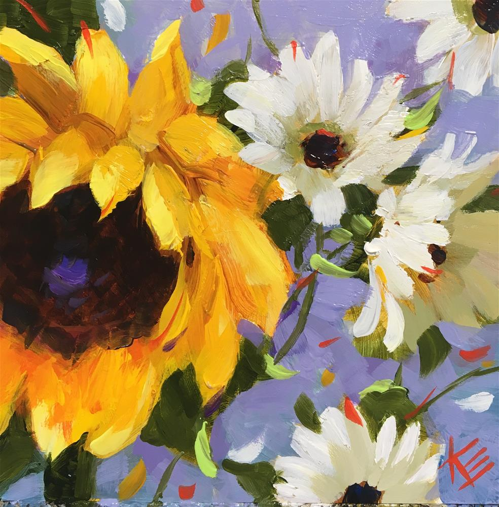 """Sunflower & Daisies"" original fine art by Krista Eaton"