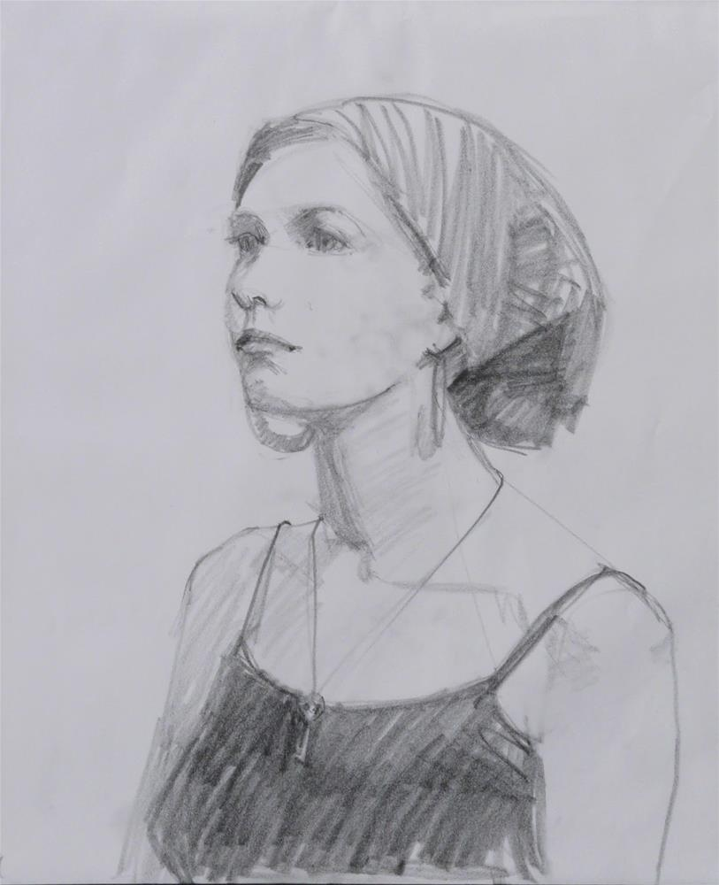 """Thursday's Model,figure,graphite in paper,17x14,price$100"" original fine art by Joy Olney"