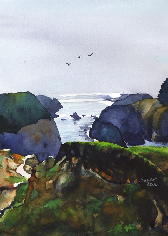 """Cloudy Day at Mendocino Headlands"" original fine art by Mariko Irie"