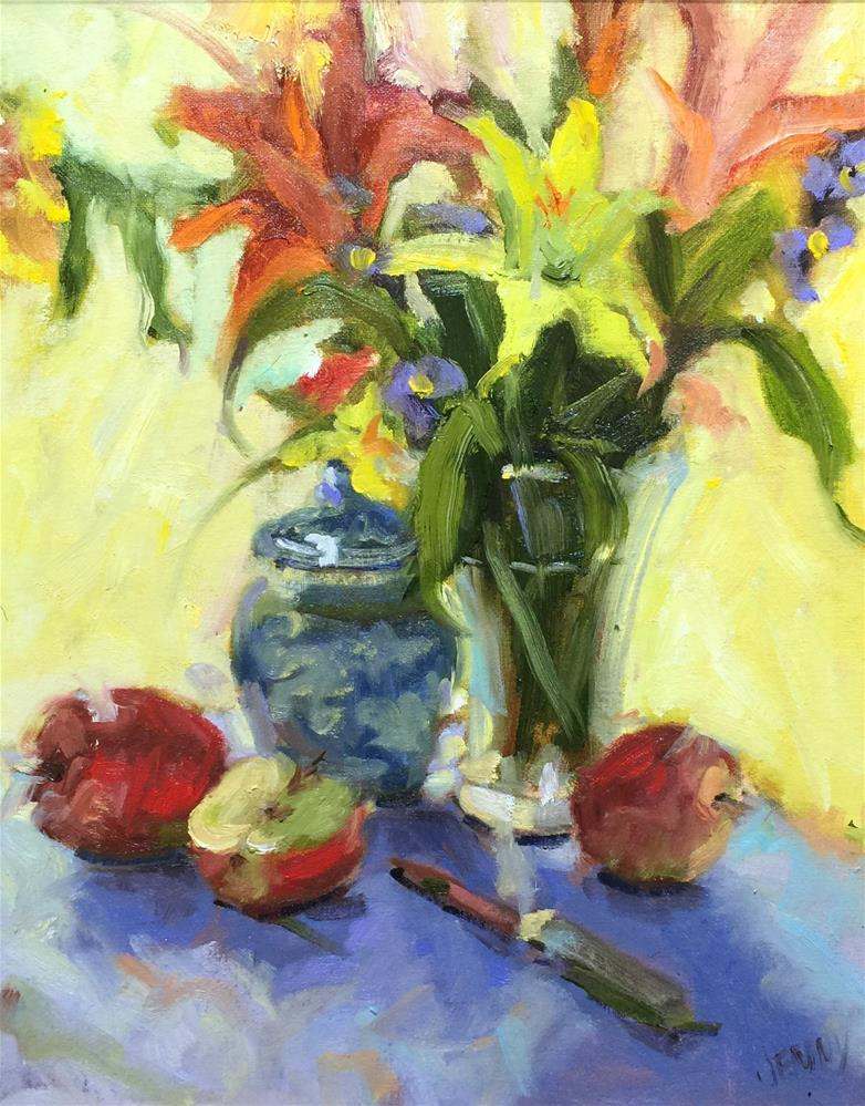 """Yellow and blue"" original fine art by Jenny Buckner"