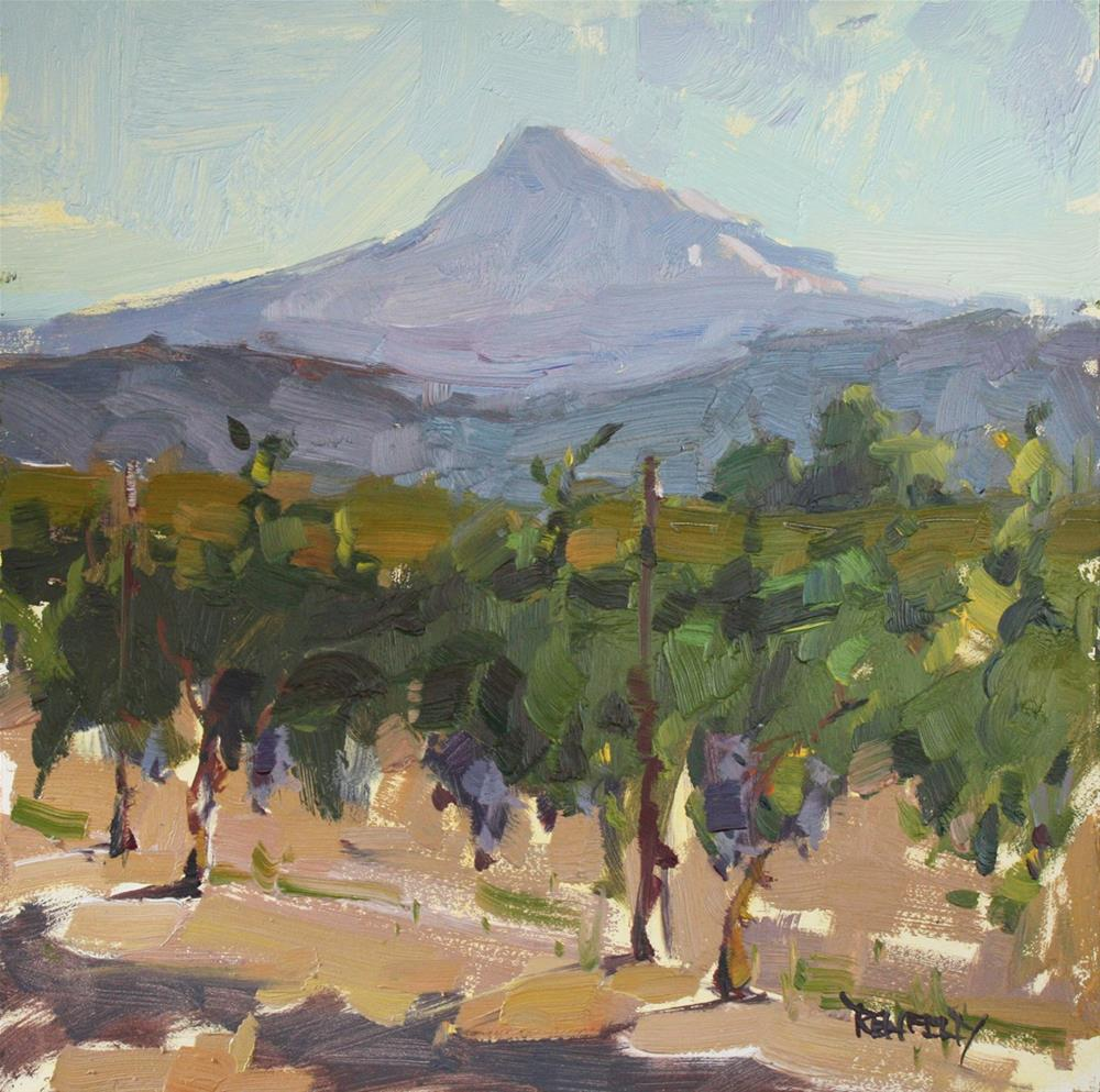 """Vineyard Harvest in the Columbia Gorge (framed)"" original fine art by Cathleen Rehfeld"