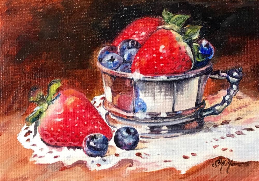 """Strawberries & Blueberries"" original fine art by Susan McConnell Moreno"