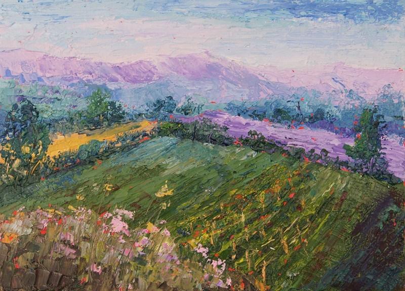 """Provence Landscape - Vineyard and Lavender fields knife painting"" original fine art by Marion Hedger"
