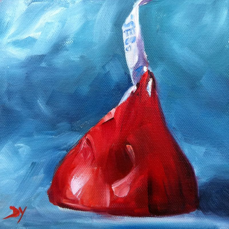 """""""Red Kiss, oil on canvas board, 6x6"""" original fine art by Darlene Young"""