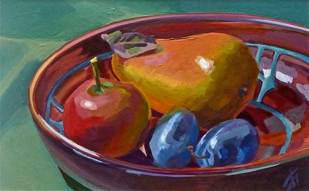 """Pear apple plums"" original fine art by Mark Allison"