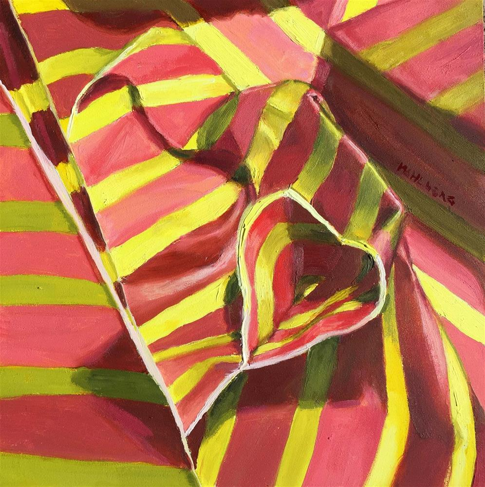 """Paper Stipes in Coral and Yellow"" original fine art by Cynthia Mahlberg"