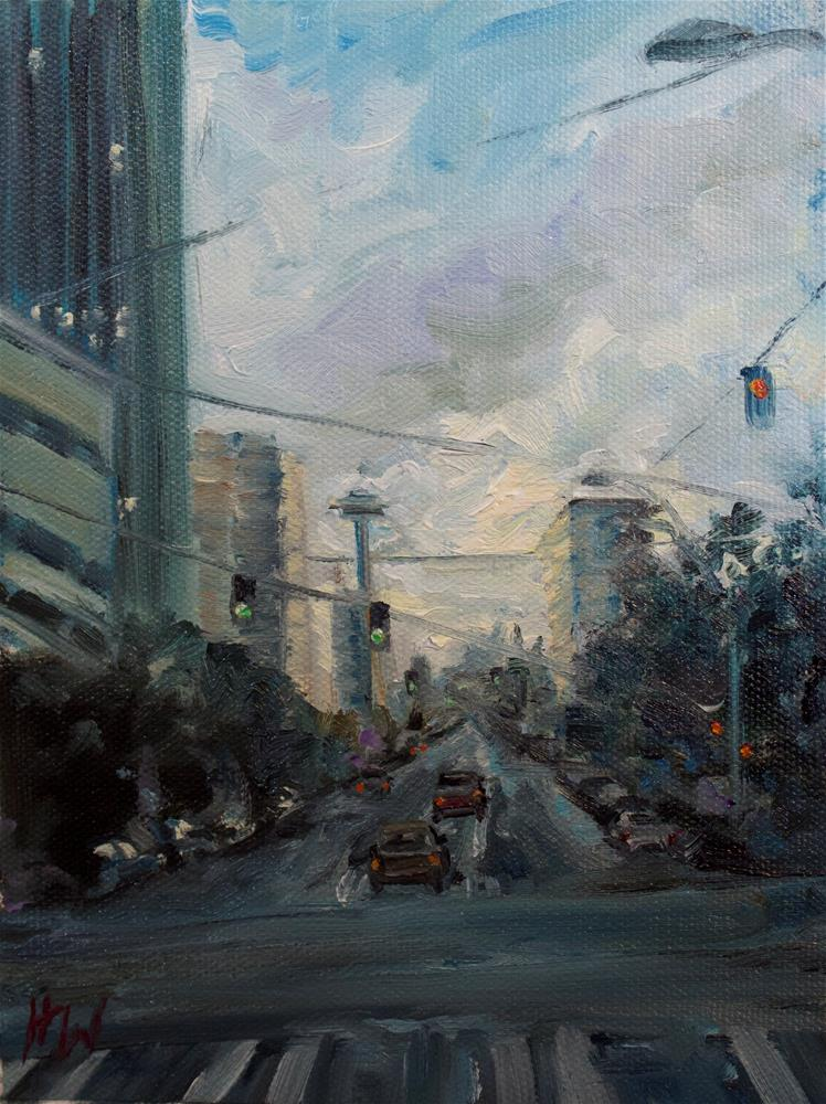 """Seattle at Twilight"" original fine art by H.F. Wallen"