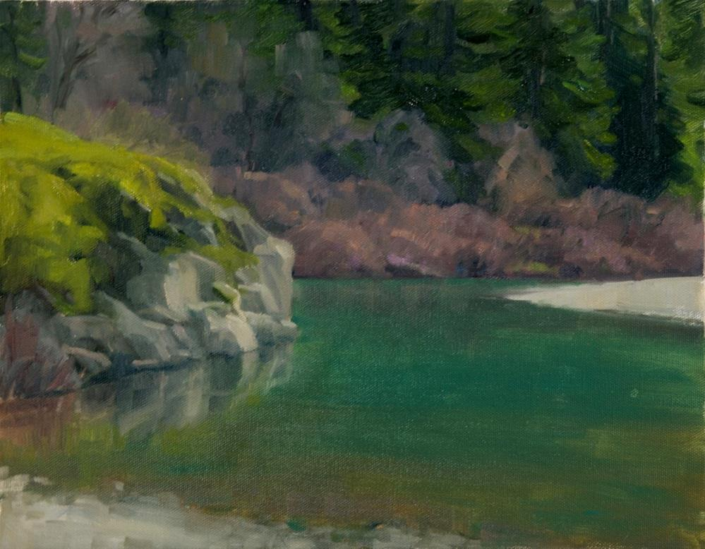 """Rocky Outcrop on the Eel"" original fine art by Kathy O'Leary"