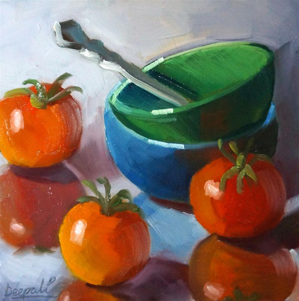 """Tomatoes and bowls"" original fine art by Dipali Rabadiya"