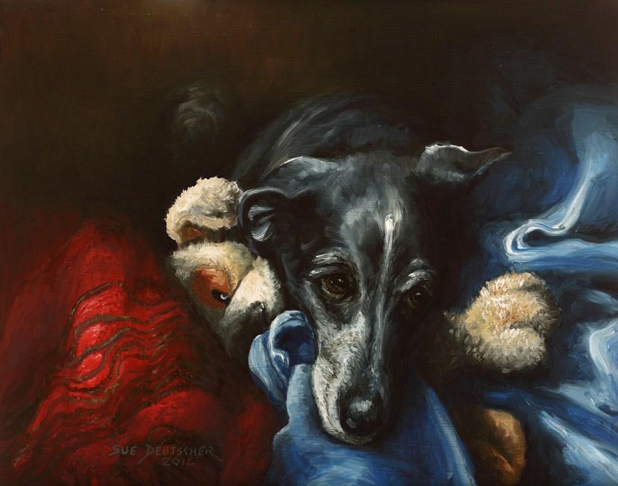 """""""Whippet and His Dog"""" original fine art by Sue Deutscher"""