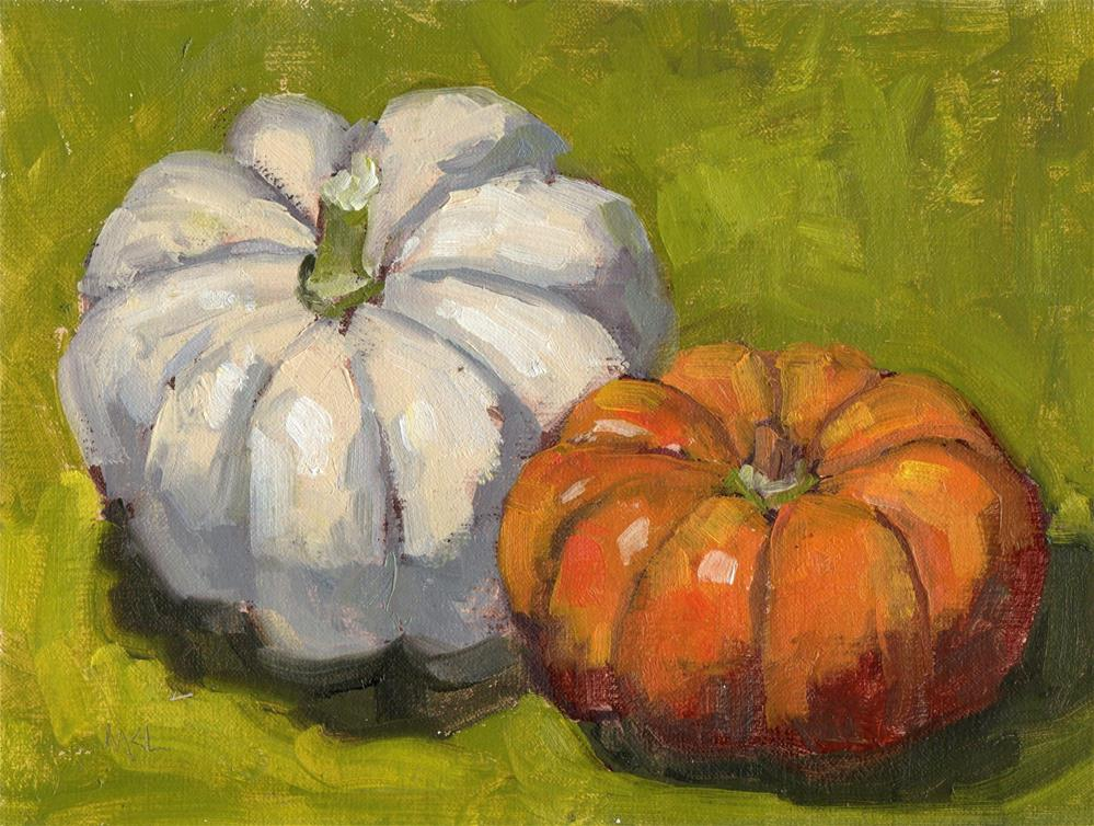 """Two Pumpkins"" original fine art by Marlene Lee"
