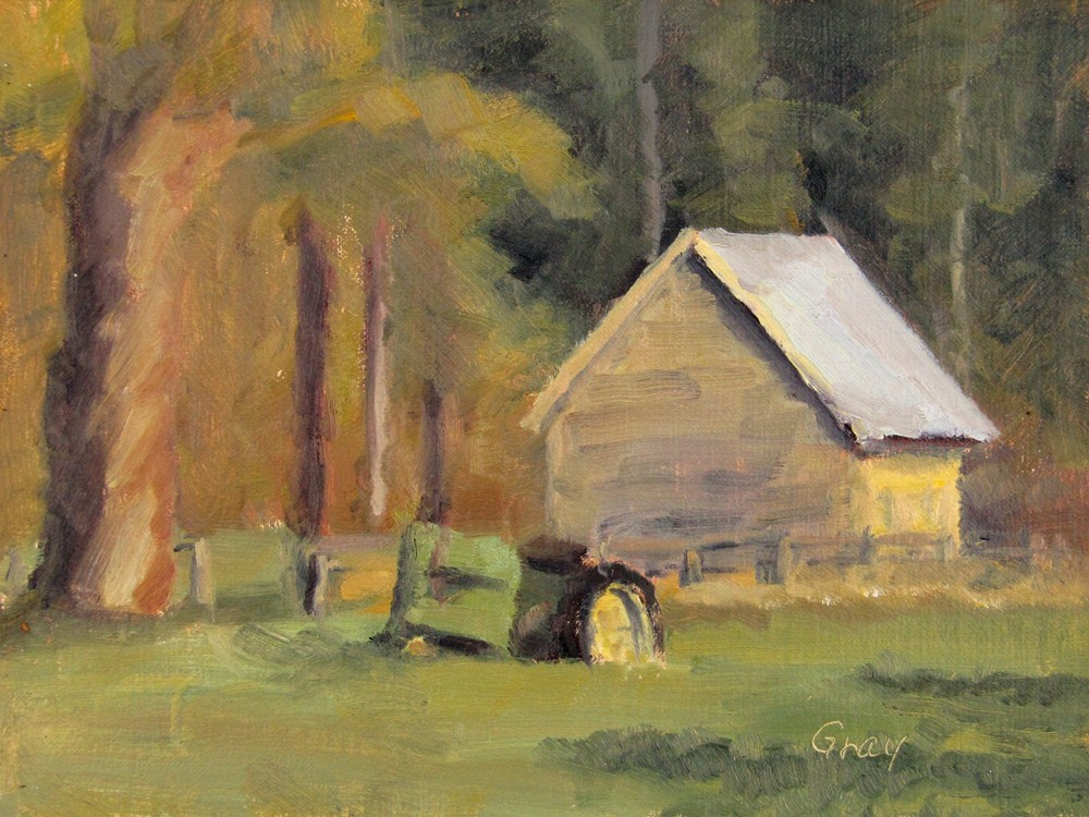 """Yellow Shed & Tractor"" original fine art by Naomi Gray"