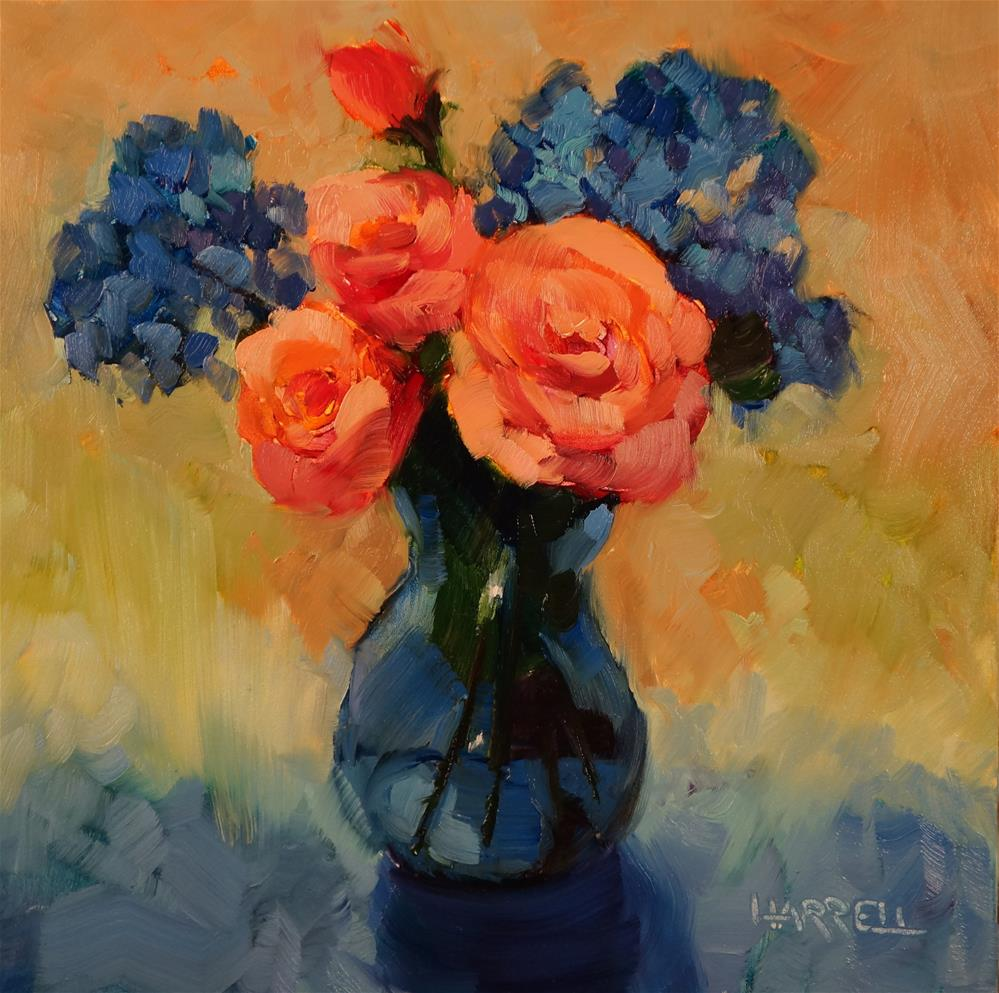 """Blue Vase With Roses"" original fine art by Sue Harrell"
