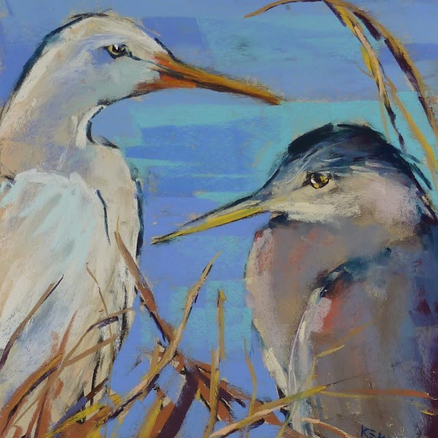 """Behind the Scenes: Painting a Heron and Egret"" original fine art by Karen Margulis"