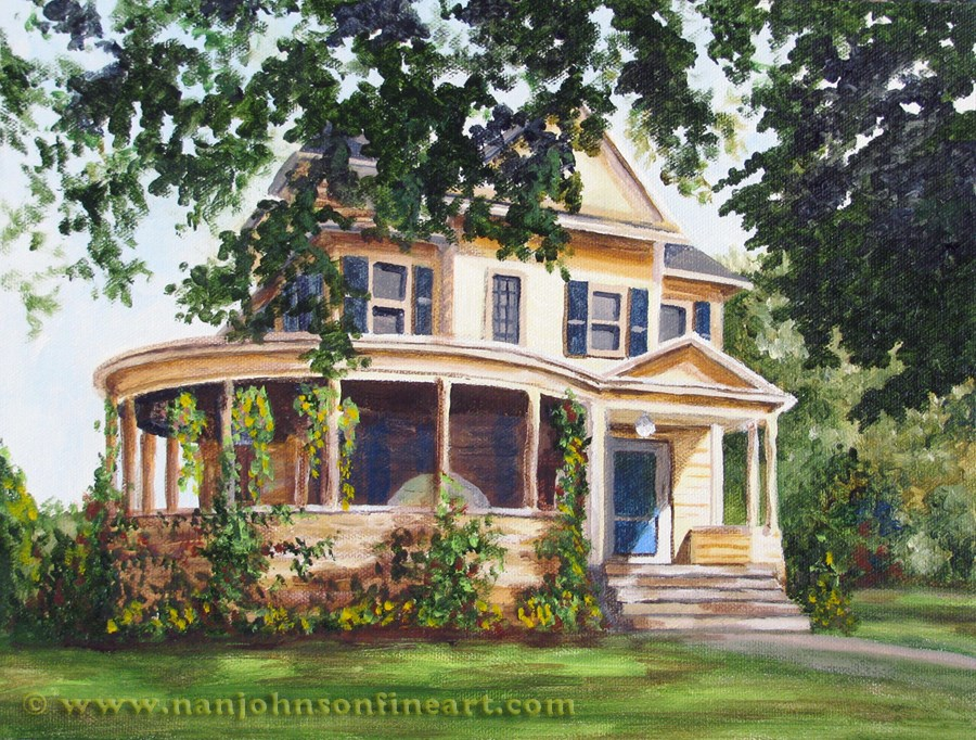 """A Round Porch"" original fine art by Nan Johnson"
