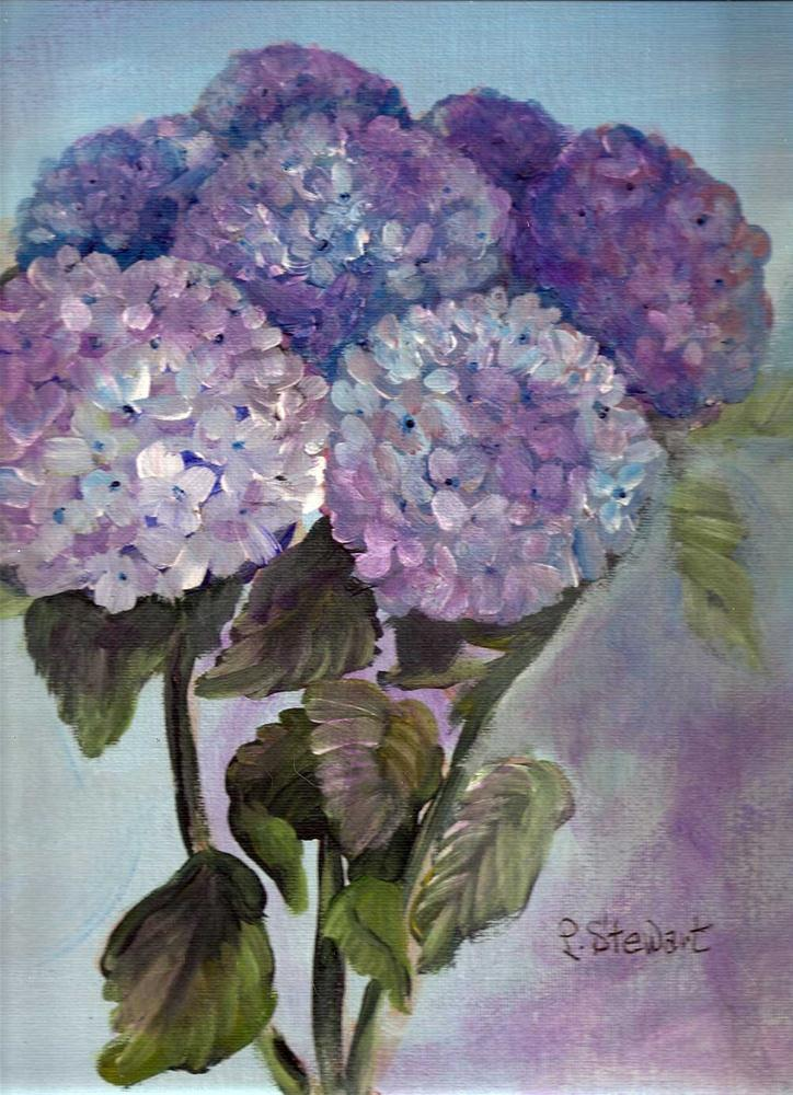 """9x12 Bouquet of Hydrangias, not in a pot, acrylic on canvas board"" original fine art by Penny Lee StewArt"
