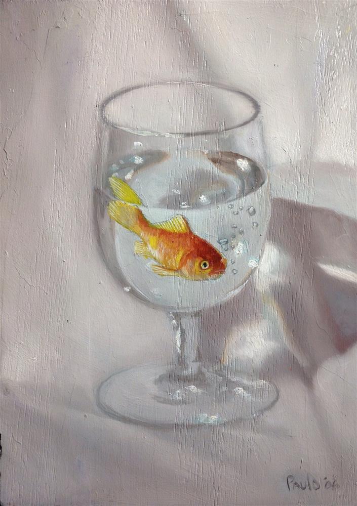 """Goldfish 5 x 7 inches oil on panel"" original fine art by Paulo Jimenez"