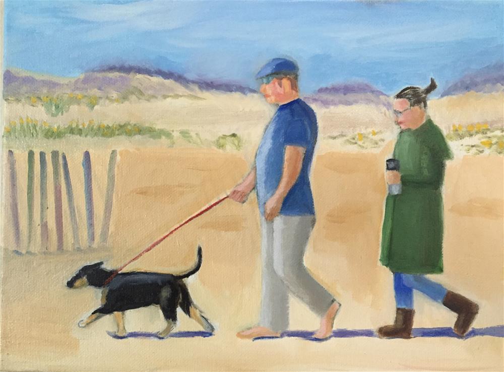 """Dog Walk On Beach"" original fine art by Theodora Zavala"