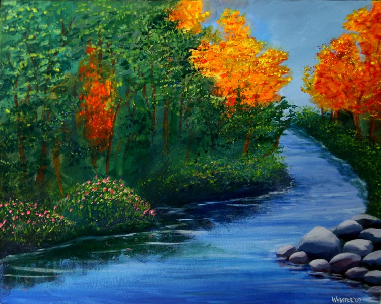 """Mark Webster - The Autumn Brook Acrylic Landscape Painting"" original fine art by Mark Webster"