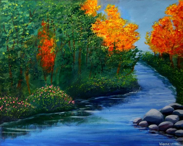 """Mark Webster - The Autumn Brook Acrylic Landscape Painting"" original fine art by Mark Webster"