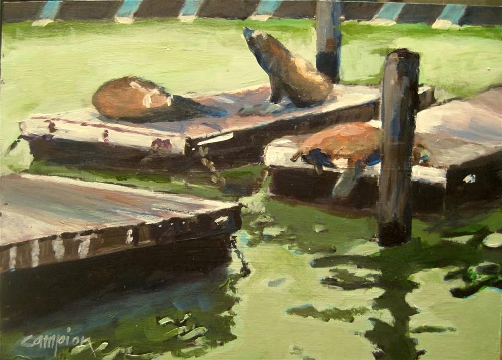 """219 Sunbathing"" original fine art by Diane Campion"