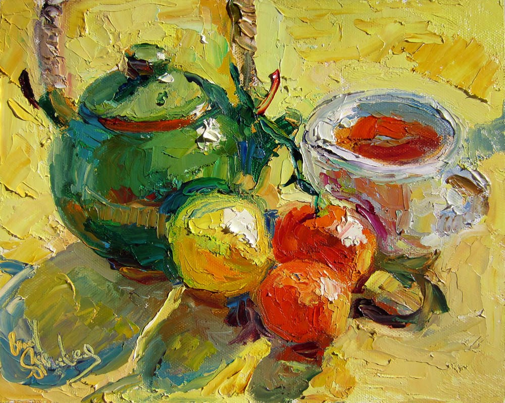 """French Lemon Ginger Rooibos Tea"" original fine art by Carol Steinberg"