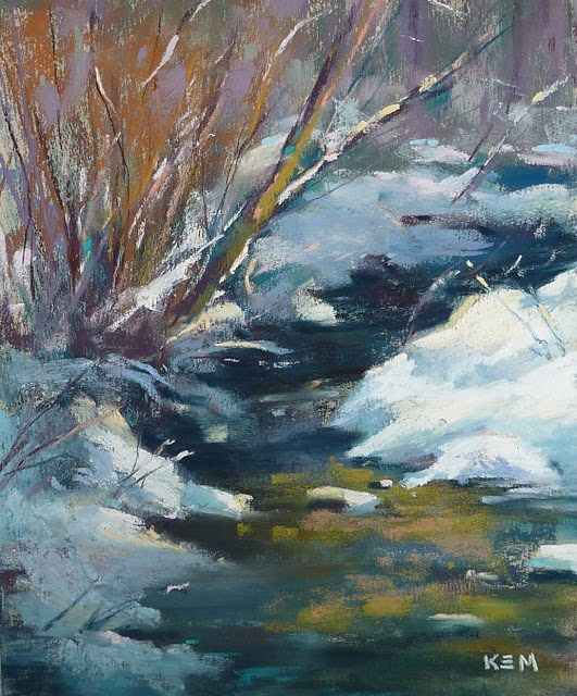 """Painting Shadows & Light in Snow ...Part I"" original fine art by Karen Margulis"
