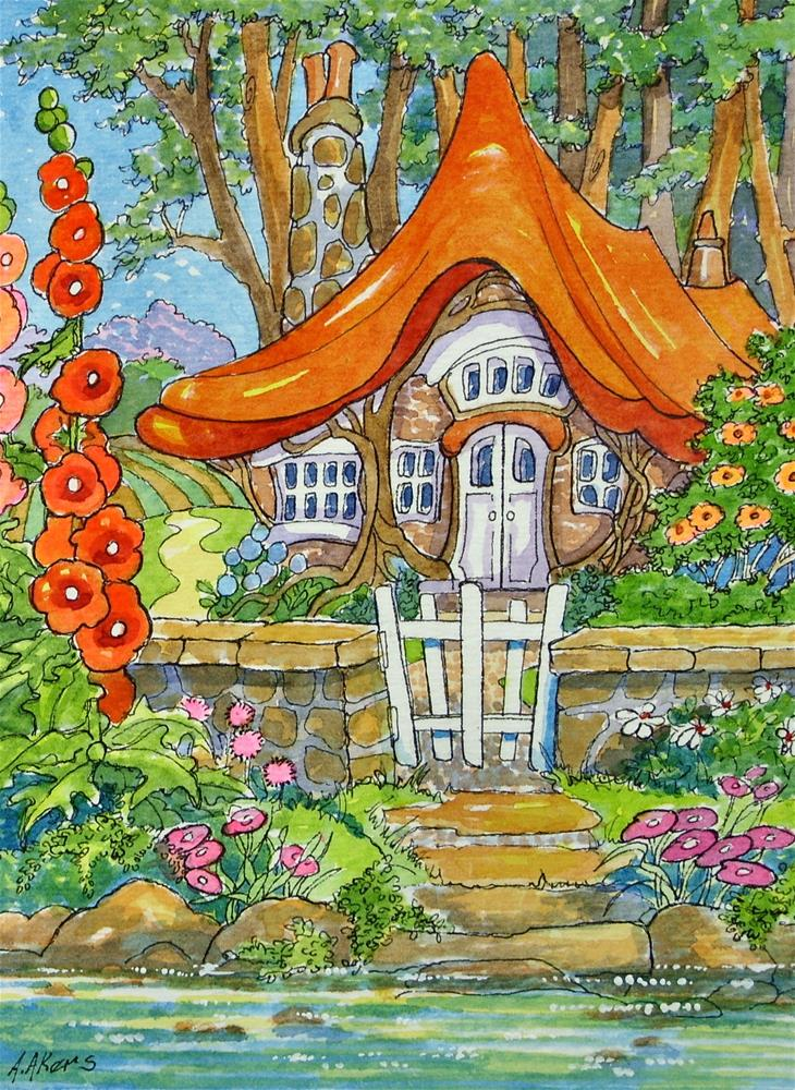 """Heaven by the Water Storybook Cottage Series"" original fine art by Alida Akers"