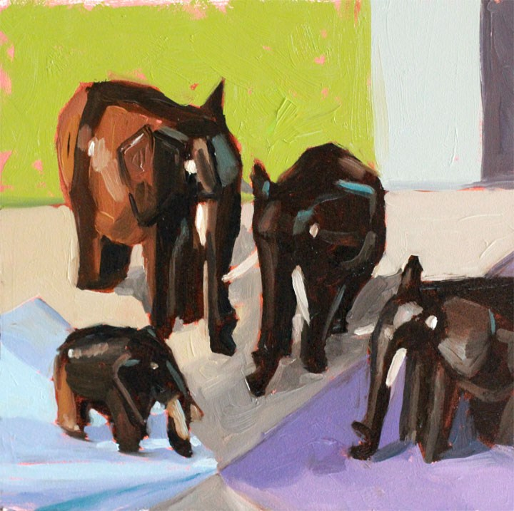 """Four Trunks, Thanks Ali!"" original fine art by Nealy May Riley"