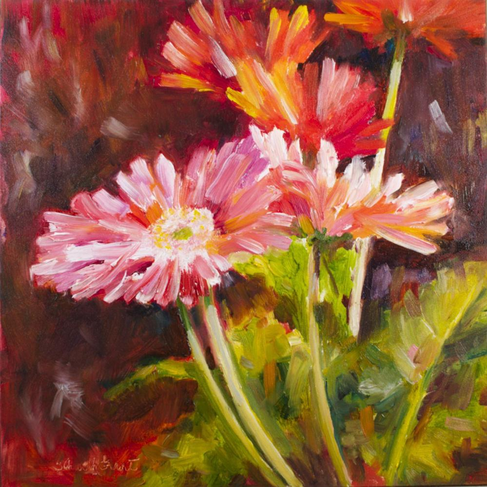 """Spring Gerbera Daisies"" original fine art by Sue Churchgrant"