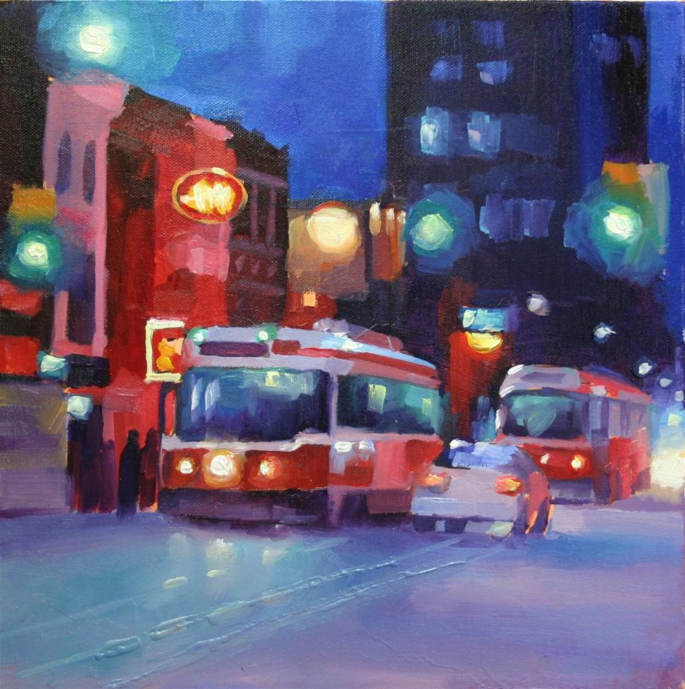 """Night Lights on King"" original fine art by Catherine Jeffrey"
