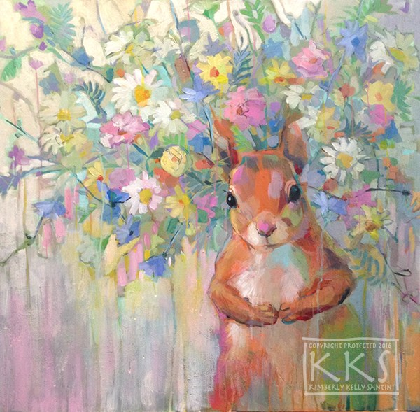 """Squirreley"" original fine art by Kimberly Santini"